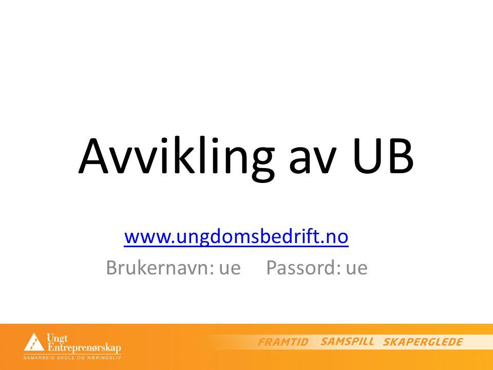 Avvikling av UB www.ungdomsbedrift.no Brukernavn: ue Passord: ue