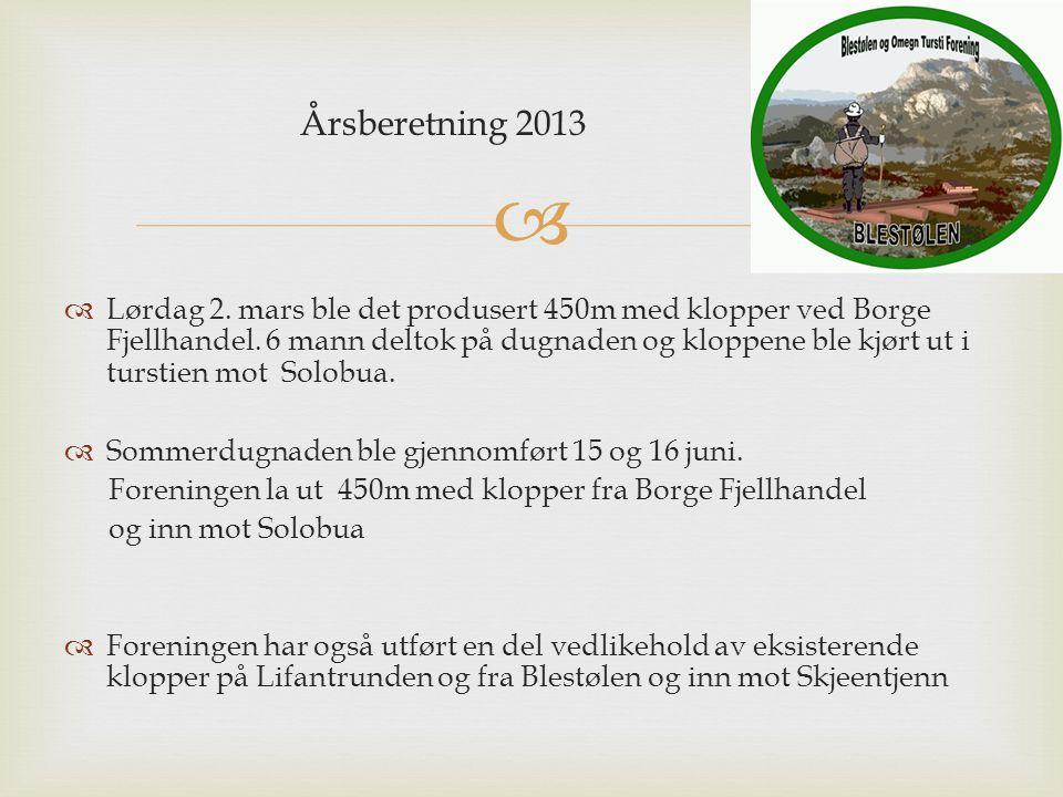  Årsberetning 2013  Lørdag 2. mars ble det produsert 450m med klopper ved Borge Fjellhandel. 6 mann deltok på dugnaden og kloppene ble kjørt ut i tu