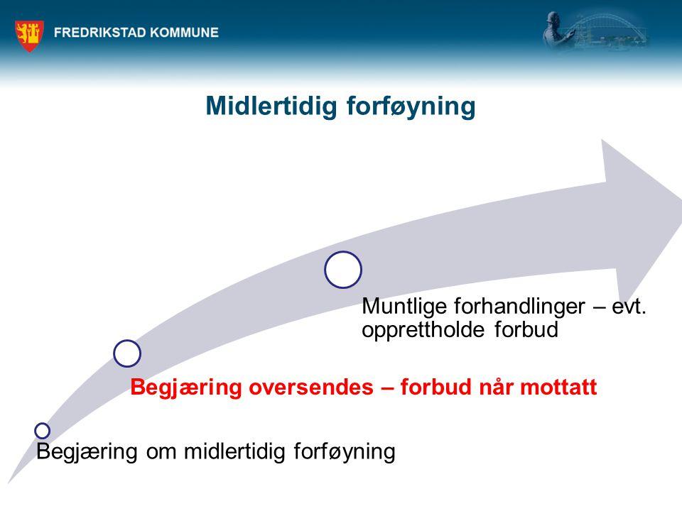 Midlertidig forføyning Begjæring om midlertidig forføyning Begjæring oversendes – forbud når mottatt Muntlige forhandlinger – evt. opprettholde forbud