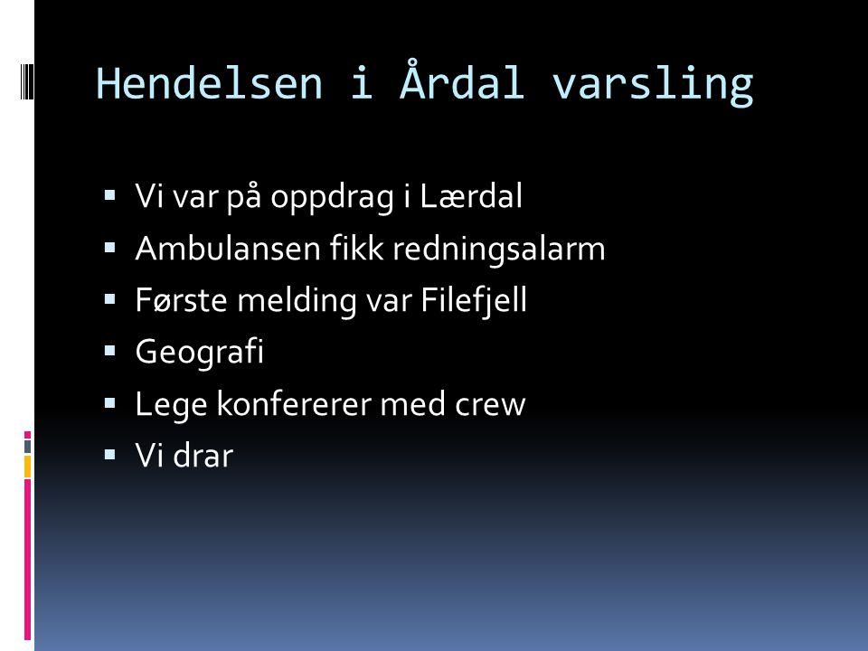 Hendelsen i Årdal varsling  Vi var på oppdrag i Lærdal  Ambulansen fikk redningsalarm  Første melding var Filefjell  Geografi  Lege konfererer me