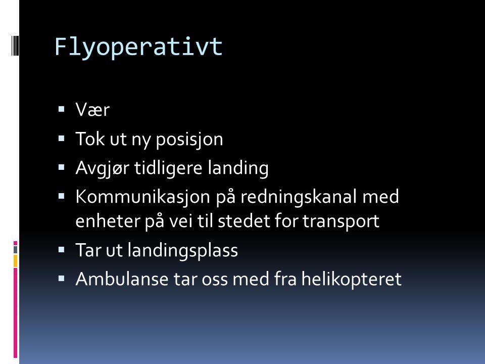 Flyoperativt  Vær  Tok ut ny posisjon  Avgjør tidligere landing  Kommunikasjon på redningskanal med enheter på vei til stedet for transport  Tar
