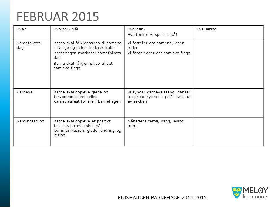 FJØSHAUGEN BARNEHAGE 2014-2015 FEBRUAR 2015 Hva?Hvorfor? MålHvordan? Hva tenker vi spesielt på? Evaluering Samefolkets dag Barna skal få kjennskap til