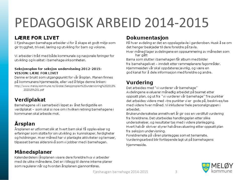 PEDAGOGISK ARBEID 2014-2015 LÆRE FOR LIVET I Fjøshaugen barnehage arbeider vi for å skape et godt miljø som gir trygghet, trivsel, læring og utvikling