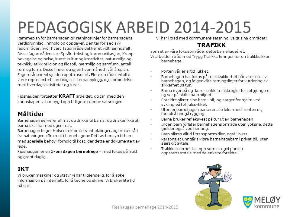 PEDAGOGISK ARBEID 2014-2015 Rammeplan for barnehagen gir retningslinjer for barnehagens verdigrunnlag, innhold og oppgaver. Den tar for seg syv fagomr