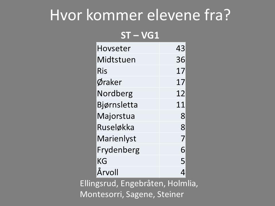 Hvor kommer elevene fra? ST – VG1 Ellingsrud, Engebråten, Holmlia, Montesorri, Sagene, Steiner Hovseter43 Midtstuen36 Ris17 Øraker17 Nordberg12 Bjørns