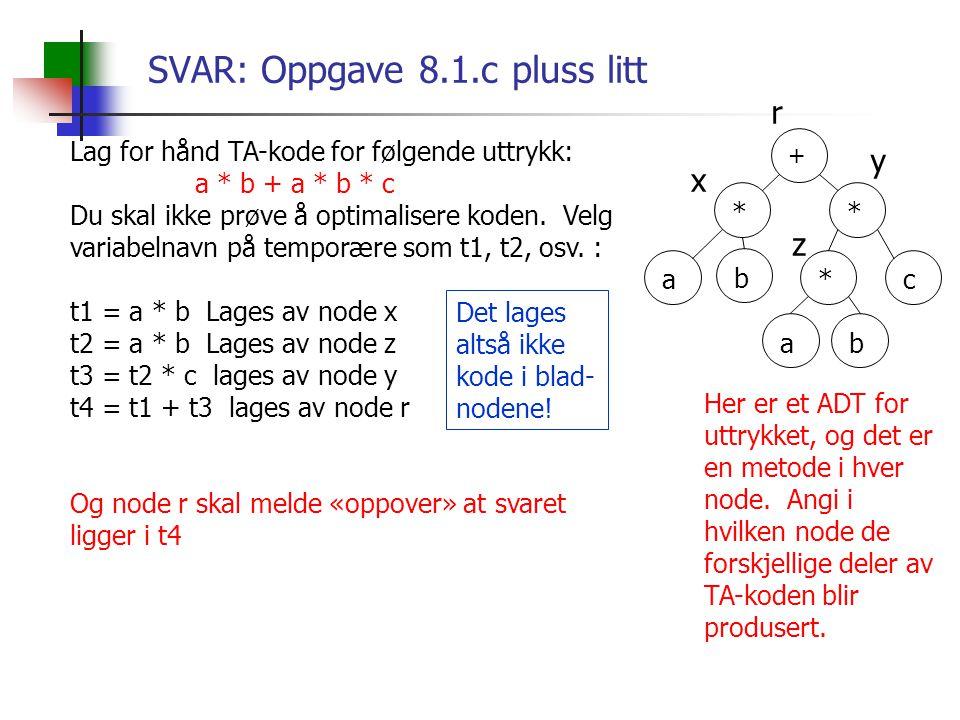 SVAR: Oppgave 8.1.c pluss litt Lag for hånd TA-kode for følgende uttrykk: a * b + a * b * c Du skal ikke prøve å optimalisere koden. Velg variabelnavn