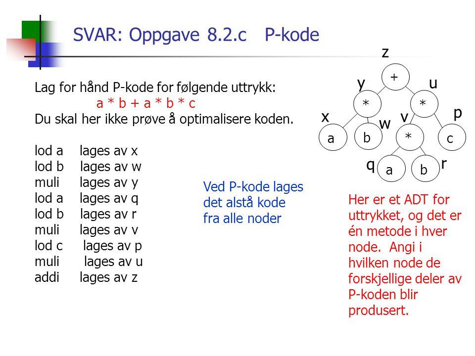 SVAR: Oppgave 8.2.c P-kode Lag for hånd P-kode for følgende uttrykk: a * b + a * b * c Du skal her ikke prøve å optimalisere koden. lod a lages av x l