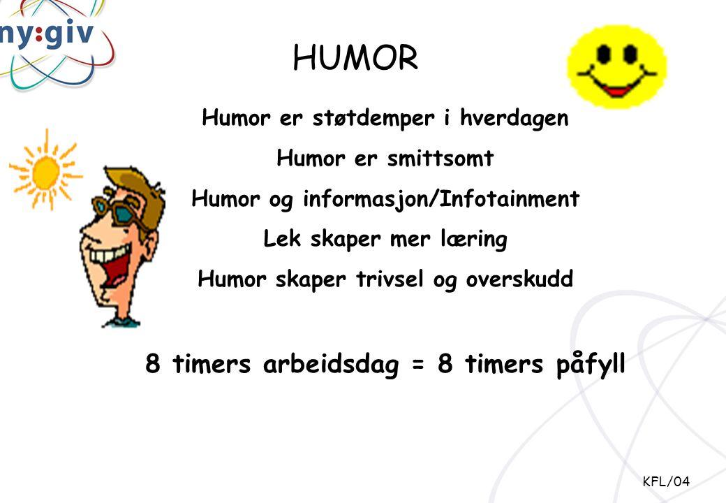 Humor er støtdemper i hverdagen Humor er smittsomt Humor og informasjon/Infotainment Lek skaper mer læring Humor skaper trivsel og overskudd 8 timers