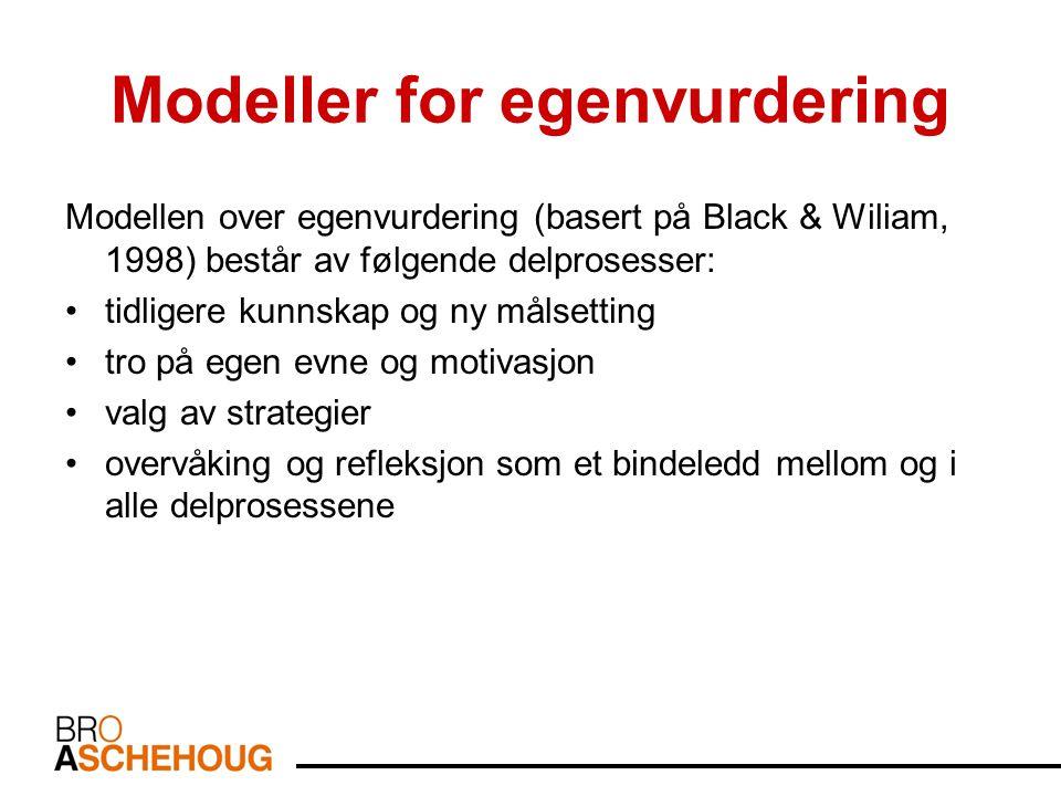 Modeller for egenvurdering Modellen over egenvurdering (basert på Black & Wiliam, 1998) består av følgende delprosesser: tidligere kunnskap og ny målsetting tro på egen evne og motivasjon valg av strategier overvåking og refleksjon som et bindeledd mellom og i alle delprosessene