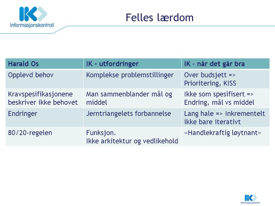 Felles lærdom Harald OsIK - utfordringerIK – når det går bra Opplevd behovKomplekse problemstillingerOver budsjett => Prioritering, KISS Kravspesifika