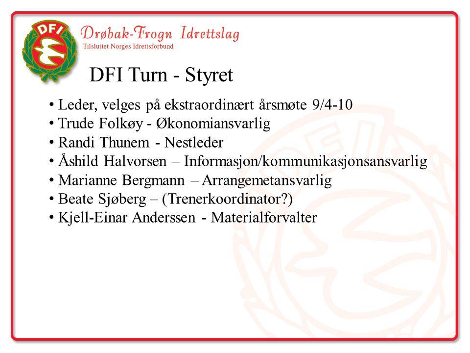 DFI Turn - Styret Leder, velges på ekstraordinært årsmøte 9/4-10 Trude Folkøy - Økonomiansvarlig Randi Thunem - Nestleder Åshild Halvorsen – Informasj