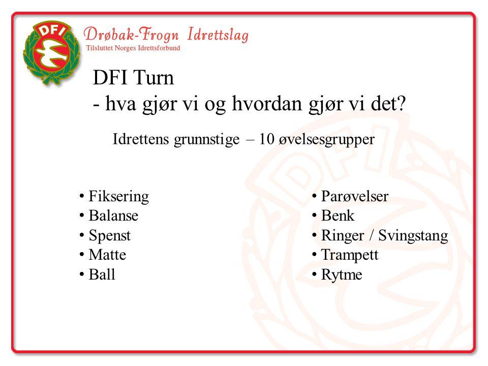 DFI Turn - hva gjør vi og hvordan gjør vi det? Idrettens grunnstige – 10 øvelsesgrupper Fiksering Balanse Spenst Matte Ball Parøvelser Benk Ringer / S