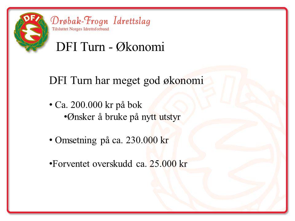 DFI Turn - Økonomi DFI Turn har meget god økonomi Ca. 200.000 kr på bok Ønsker å bruke på nytt utstyr Omsetning på ca. 230.000 kr Forventet overskudd