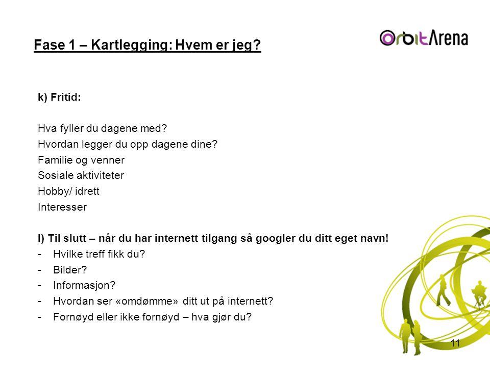 Fase 1 – Kartlegging: Hvem er jeg? k) Fritid: Hva fyller du dagene med? Hvordan legger du opp dagene dine? Familie og venner Sosiale aktiviteter Hobby