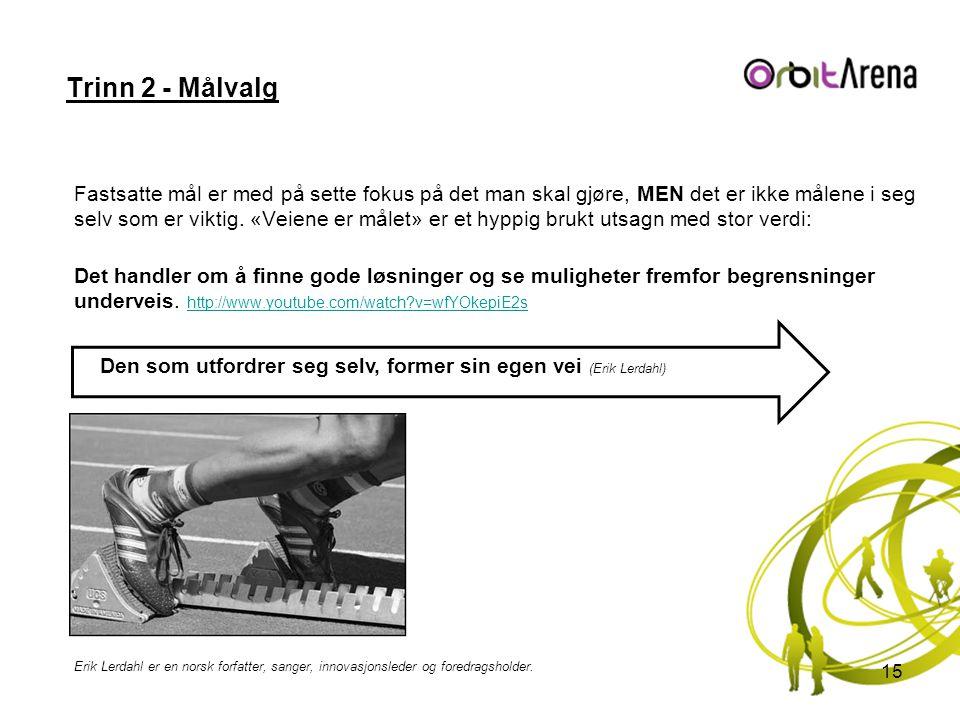 Trinn 2 - Målvalg Fastsatte mål er med på sette fokus på det man skal gjøre, MEN det er ikke målene i seg selv som er viktig. «Veiene er målet» er et