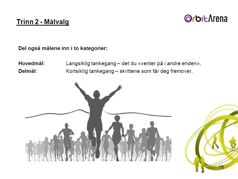 Trinn 2 - Målvalg Del også målene inn i to kategorier: Hovedmål:Langsiktig tankegang – det du «venter på i andre enden». Delmål:Kortsiktig tankegang –