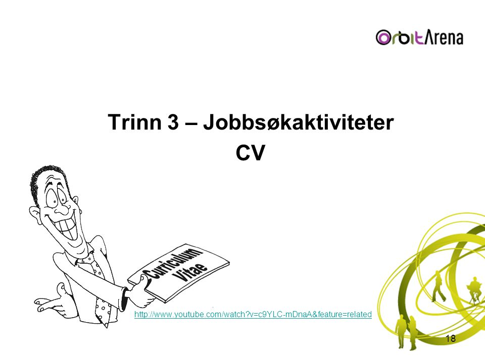 Trinn 3 – Jobbsøkaktiviteter CV http://www.youtube.com/watch?v=c9YLC-mDnaA&feature=related 18