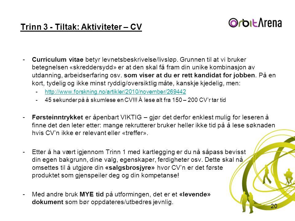 Trinn 3 - Tiltak: Aktiviteter – CV -Curriculum vitae betyr levnetsbeskrivelse/livsløp.