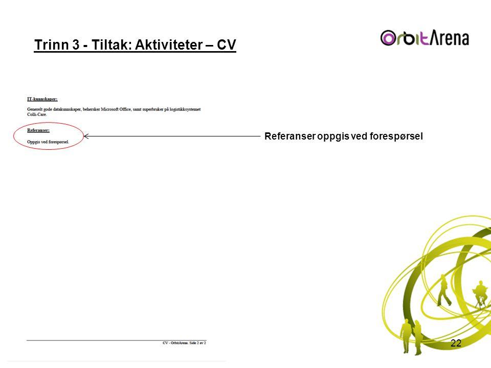 Trinn 3 - Tiltak: Aktiviteter – CV 22 Referanser oppgis ved forespørsel