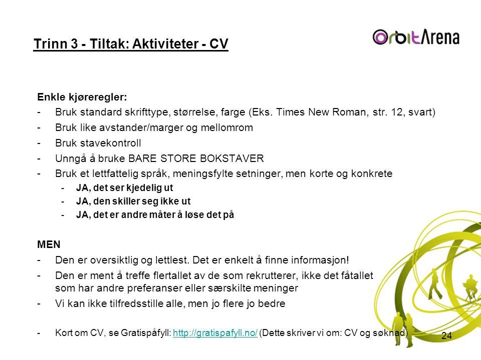Trinn 3 - Tiltak: Aktiviteter - CV Enkle kjøreregler: -Bruk standard skrifttype, størrelse, farge (Eks.