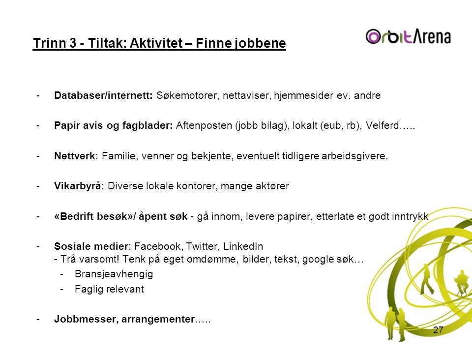 Trinn 3 - Tiltak: Aktivitet – Finne jobbene -Databaser/internett: Søkemotorer, nettaviser, hjemmesider ev. andre -Papir avis og fagblader: Aftenposten