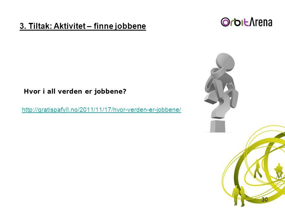 3. Tiltak: Aktivitet – finne jobbene Hvor i all verden er jobbene? http://gratispafyll.no/2011/11/17/hvor-verden-er-jobbene/ 30