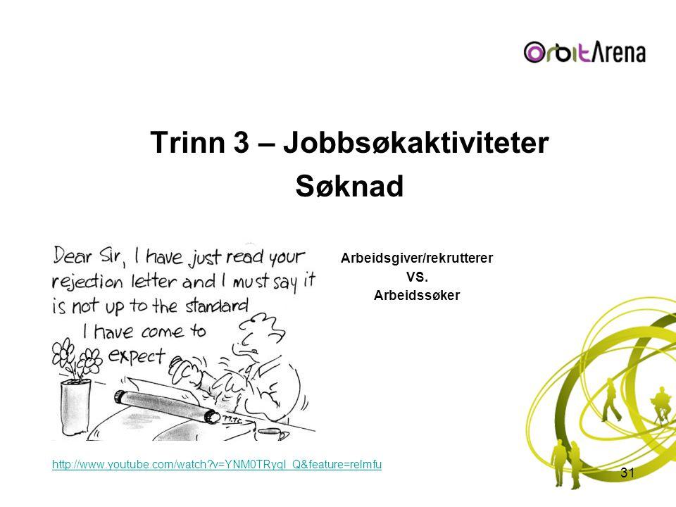 Trinn 3 – Jobbsøkaktiviteter Søknad Arbeidsgiver/rekrutterer VS. Arbeidssøker http://www.youtube.com/watch?v=YNM0TRyqI_Q&feature=relmfu 31