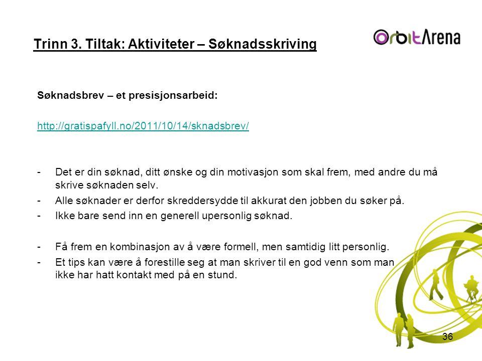 Trinn 3. Tiltak: Aktiviteter – Søknadsskriving Søknadsbrev – et presisjonsarbeid: http://gratispafyll.no/2011/10/14/sknadsbrev/ -Det er din søknad, di