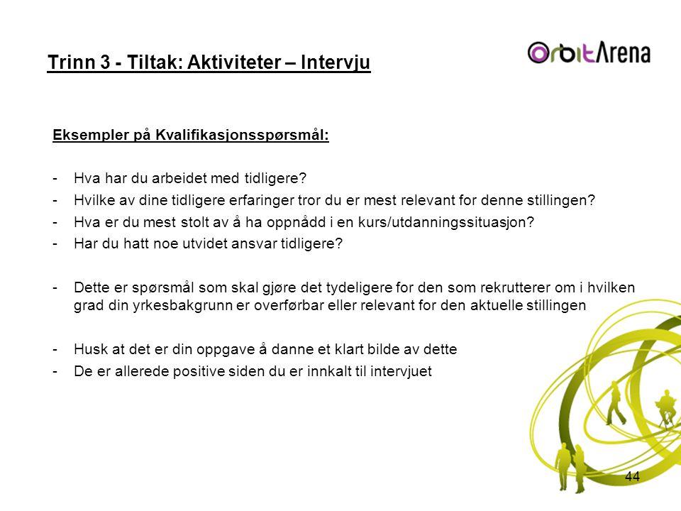 Trinn 3 - Tiltak: Aktiviteter – Intervju Eksempler på Kvalifikasjonsspørsmål: -Hva har du arbeidet med tidligere? -Hvilke av dine tidligere erfaringer