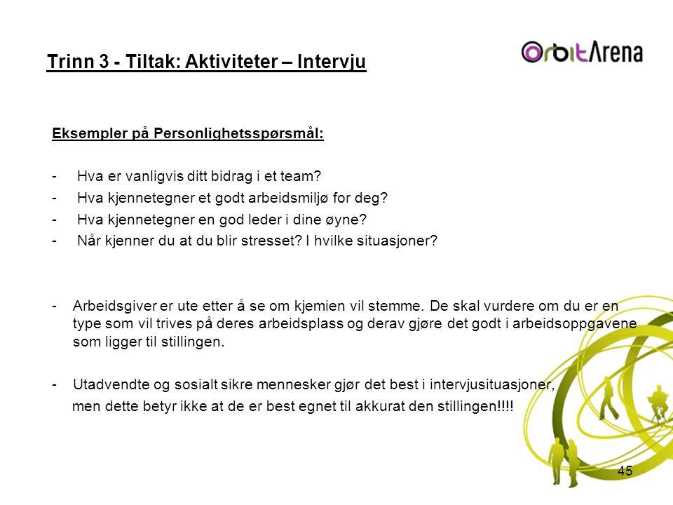 Trinn 3 - Tiltak: Aktiviteter – Intervju Eksempler på Personlighetsspørsmål: -Hva er vanligvis ditt bidrag i et team? -Hva kjennetegner et godt arbeid