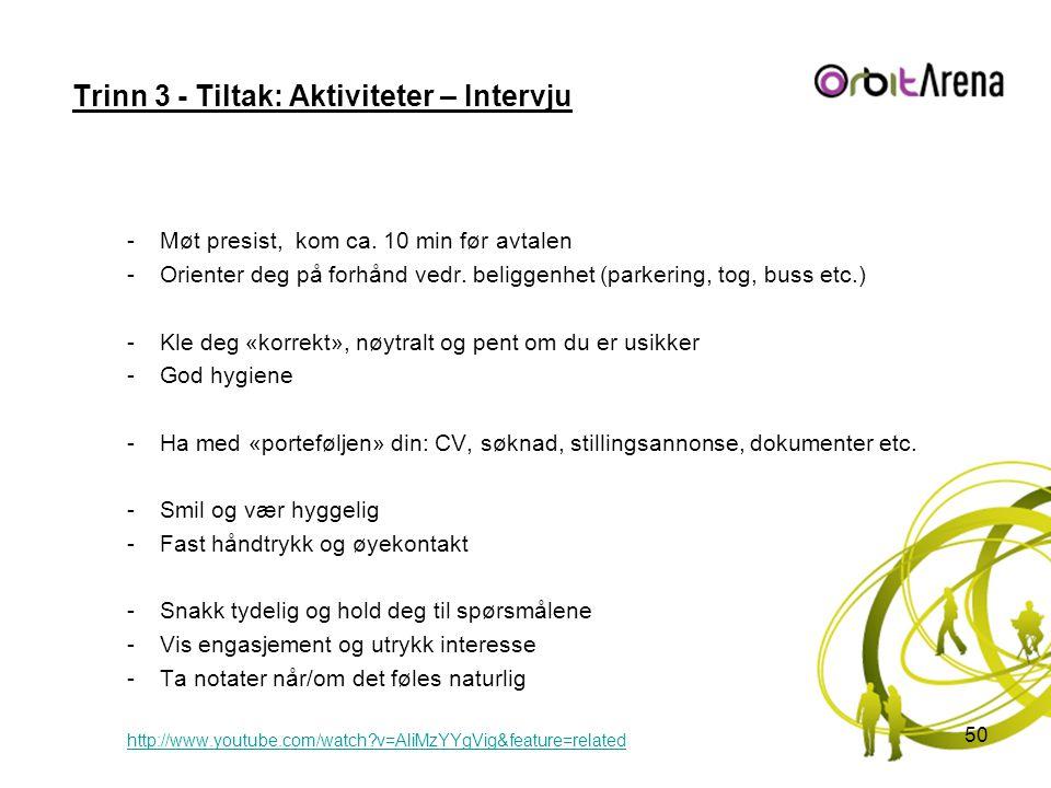 Trinn 3 - Tiltak: Aktiviteter – Intervju -Møt presist, kom ca. 10 min før avtalen -Orienter deg på forhånd vedr. beliggenhet (parkering, tog, buss etc