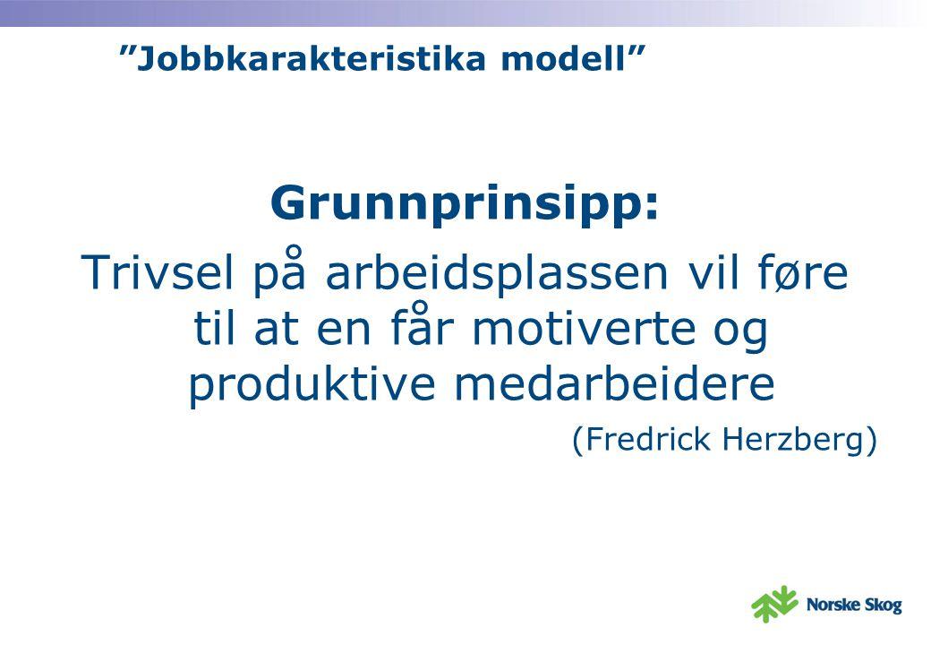 Jobbkarakteristika modell Grunnprinsipp: Trivsel på arbeidsplassen vil føre til at en får motiverte og produktive medarbeidere (Fredrick Herzberg)