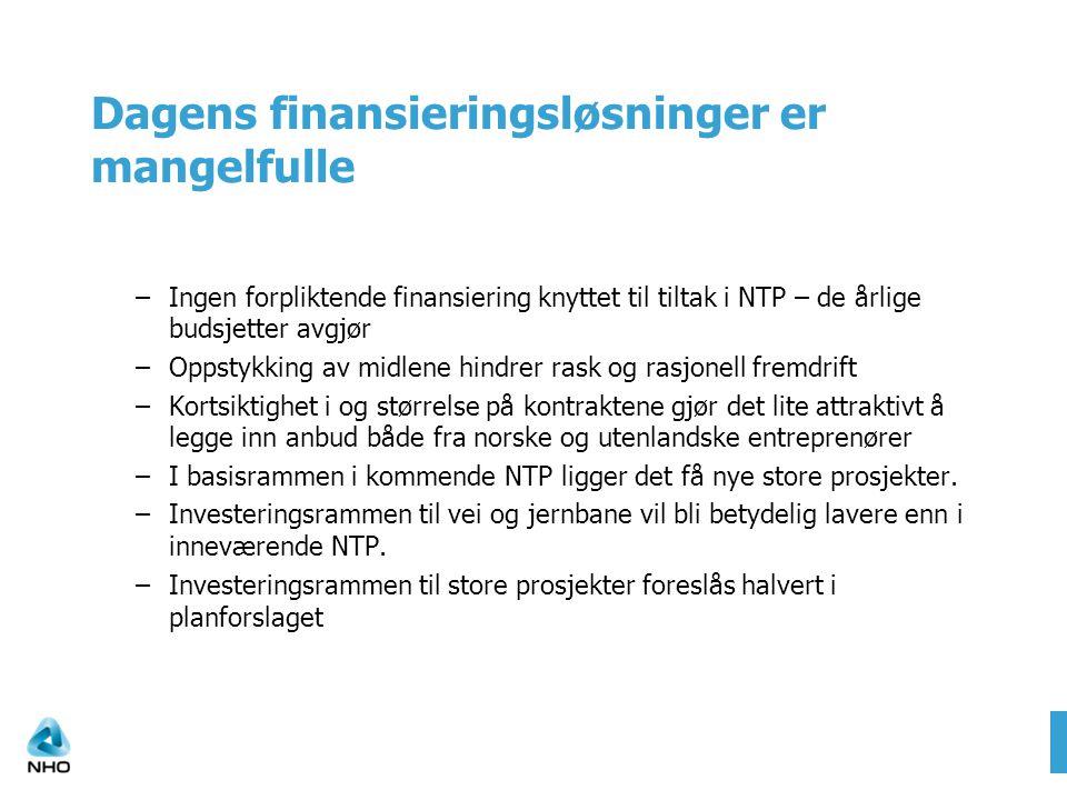 Dagens finansieringsløsninger er mangelfulle –Ingen forpliktende finansiering knyttet til tiltak i NTP – de årlige budsjetter avgjør –Oppstykking av midlene hindrer rask og rasjonell fremdrift –Kortsiktighet i og størrelse på kontraktene gjør det lite attraktivt å legge inn anbud både fra norske og utenlandske entreprenører –I basisrammen i kommende NTP ligger det få nye store prosjekter.