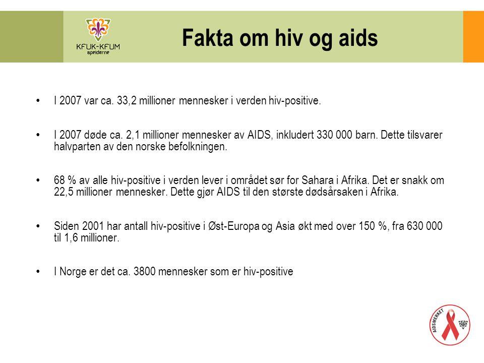 Fakta om hiv og aids Antall nye mennesker som ble smittet i 2007 er ca.