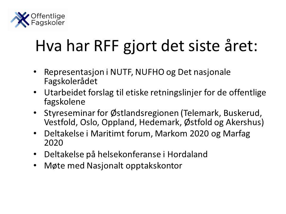 Hva har RFF gjort det siste året: Representasjon i NUTF, NUFHO og Det nasjonale Fagskolerådet Utarbeidet forslag til etiske retningslinjer for de offentlige fagskolene Styreseminar for Østlandsregionen (Telemark, Buskerud, Vestfold, Oslo, Oppland, Hedemark, Østfold og Akershus) Deltakelse i Maritimt forum, Markom 2020 og Marfag 2020 Deltakelse på helsekonferanse i Hordaland Møte med Nasjonalt opptakskontor