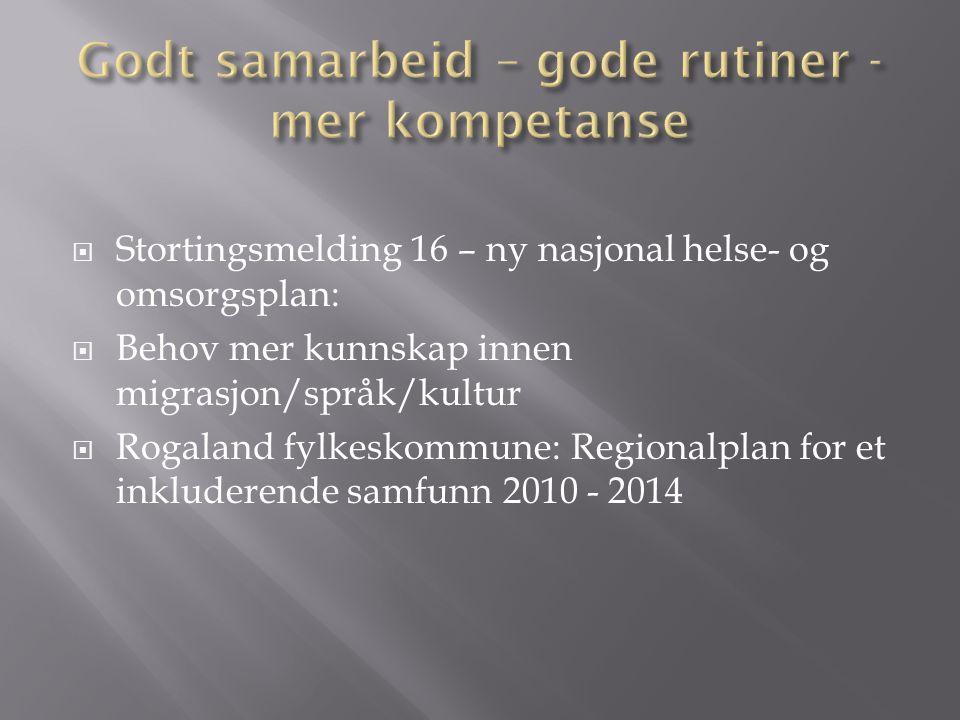  Stortingsmelding 16 – ny nasjonal helse- og omsorgsplan:  Behov mer kunnskap innen migrasjon/språk/kultur  Rogaland fylkeskommune: Regionalplan for et inkluderende samfunn 2010 - 2014
