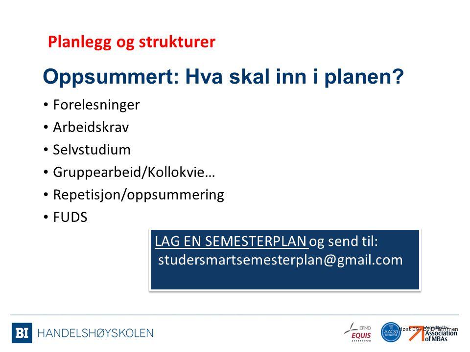Oppsummert: Hva skal inn i planen? Forelesninger Arbeidskrav Selvstudium Gruppearbeid/Kollokvie… Repetisjon/oppsummering FUDS Høst 09- BI Drammen Plan