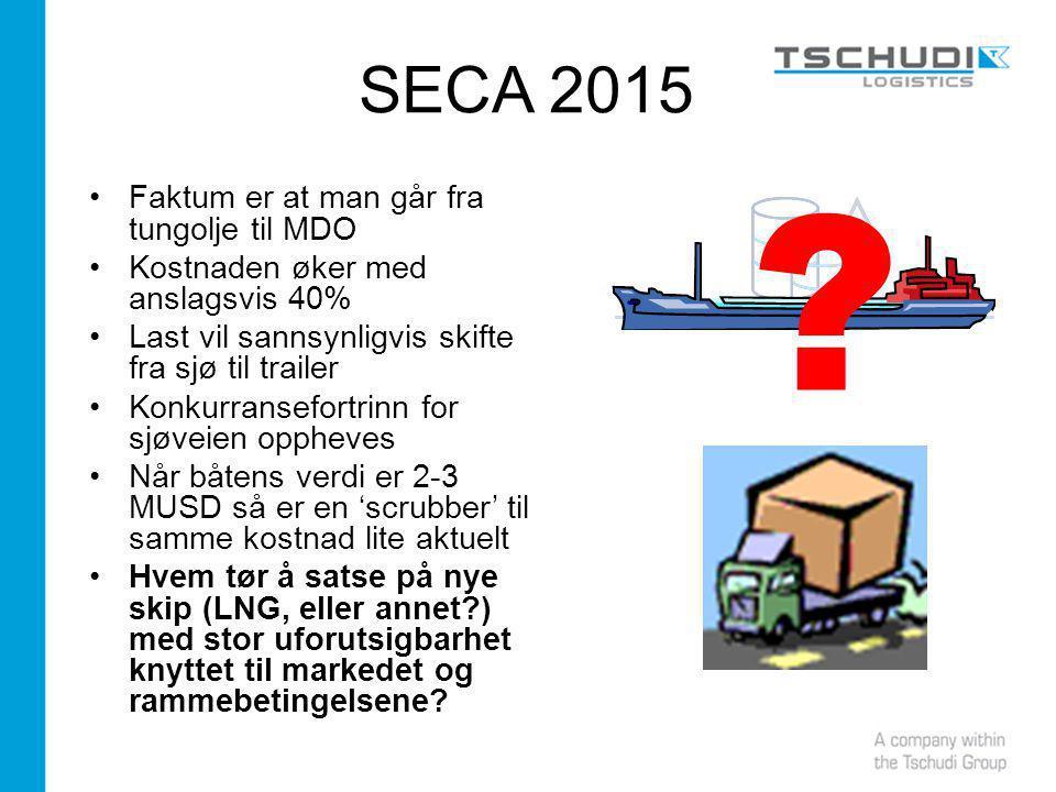 SECA 2015 Faktum er at man går fra tungolje til MDO Kostnaden øker med anslagsvis 40% Last vil sannsynligvis skifte fra sjø til trailer Konkurransefortrinn for sjøveien oppheves Når båtens verdi er 2-3 MUSD så er en 'scrubber' til samme kostnad lite aktuelt Hvem tør å satse på nye skip (LNG, eller annet?) med stor uforutsigbarhet knyttet til markedet og rammebetingelsene.