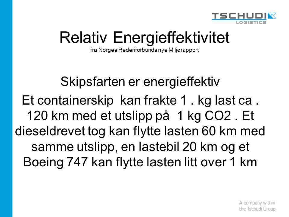 Relativ Energieffektivitet fra Norges Rederiforbunds nye Miljørapport Skipsfarten er energieffektiv Et containerskip kan frakte 1.
