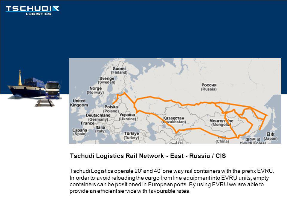Tschudi Logistics Rail Network - East - Russia / CIS Tschudi Logistics operate 20 and 40 one way rail containers with the prefix EVRU.