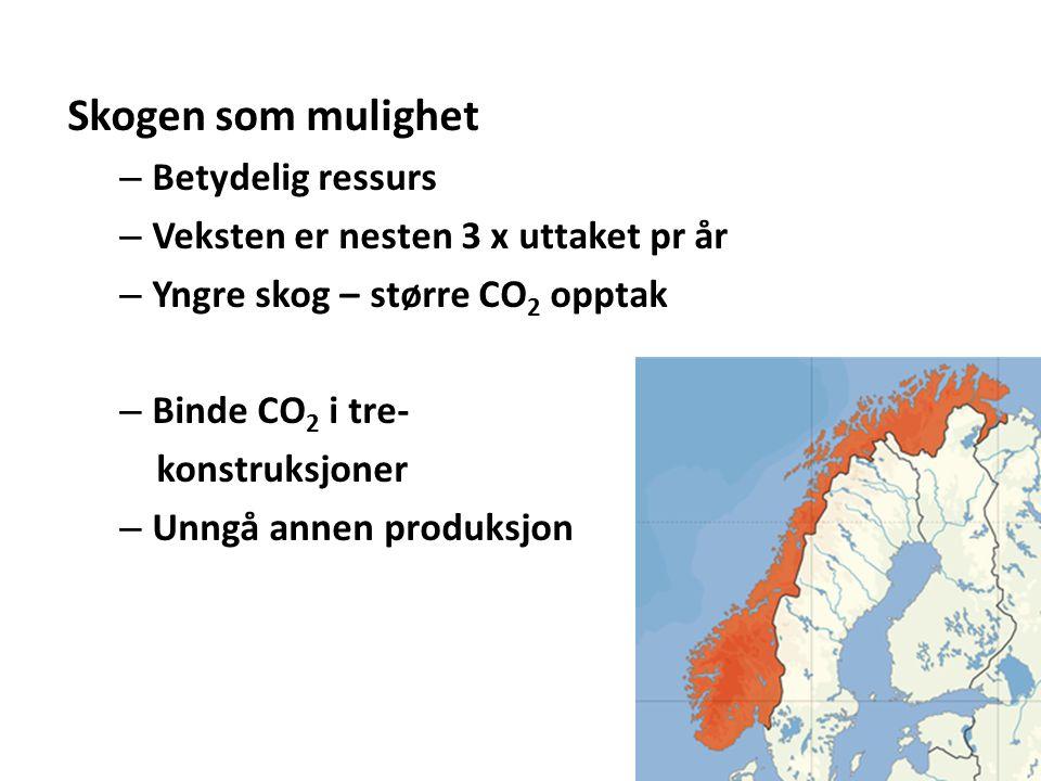 Skogen som mulighet – Betydelig ressurs – Veksten er nesten 3 x uttaket pr år – Yngre skog – større CO 2 opptak – Binde CO 2 i tre- konstruksjoner – Unngå annen produksjon