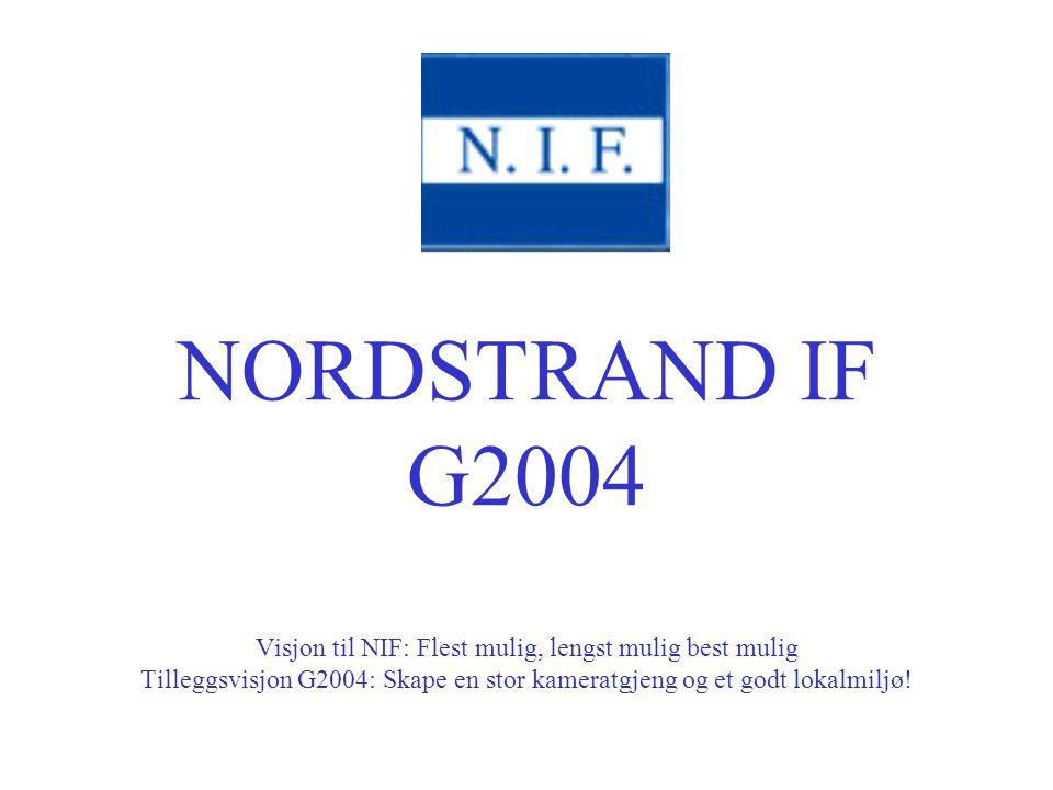 NORDSTRAND IF G2004 Visjon til NIF: Flest mulig, lengst mulig best mulig Tilleggsvisjon G2004: Skape en stor kameratgjeng og et godt lokalmiljø!