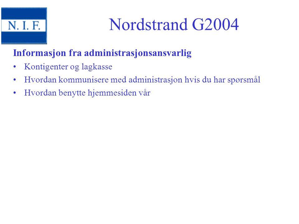 Informasjon fra administrasjonsansvarlig Kontigenter og lagkasse Hvordan kommunisere med administrasjon hvis du har spørsmål Hvordan benytte hjemmesiden vår Nordstrand G2004