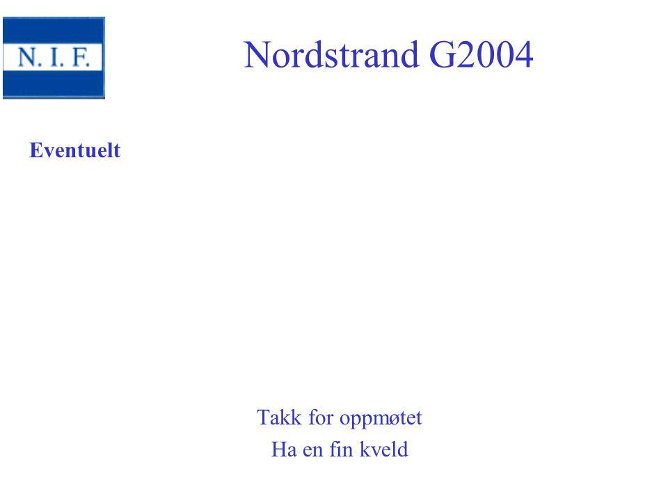 Eventuelt Takk for oppmøtet Ha en fin kveld Nordstrand G2004