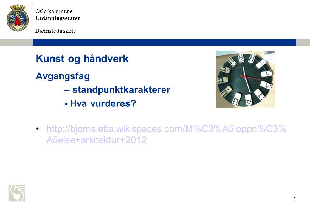 Oslo kommune Utdanningsetaten Bjørnsletta skole Kunst og håndverk Avgangsfag – standpunktkarakterer - Hva vurderes? http://bjornsletta.wikispaces.com/