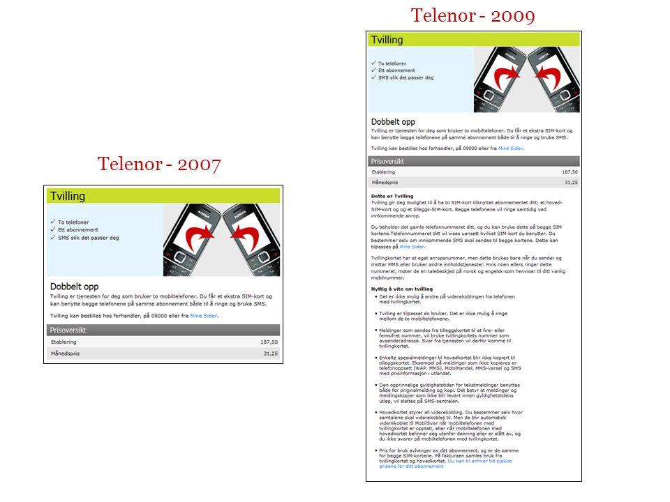 Telenor - 2007 Telenor - 2009