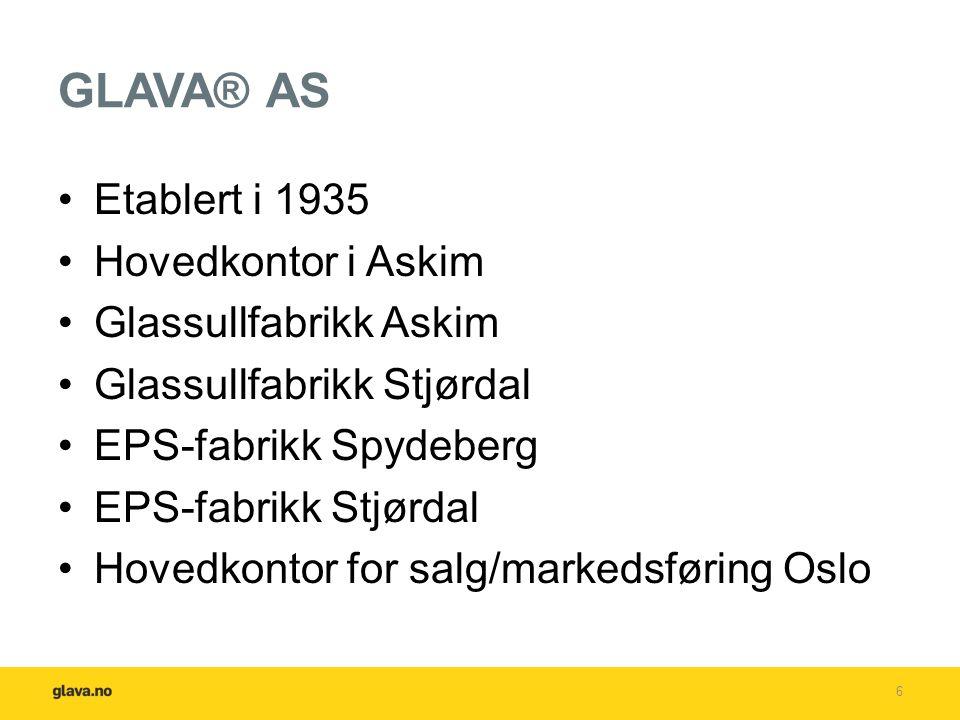 GLAVA® AS Etablert i 1935 Hovedkontor i Askim Glassullfabrikk Askim Glassullfabrikk Stjørdal EPS-fabrikk Spydeberg EPS-fabrikk Stjørdal Hovedkontor for salg/markedsføring Oslo 6