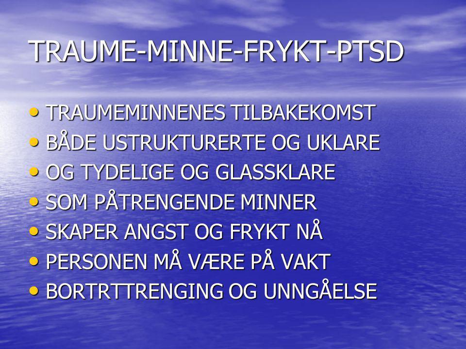 TRAUME-MINNE-FRYKT-PTSD TRAUMEMINNENES TILBAKEKOMST TRAUMEMINNENES TILBAKEKOMST BÅDE USTRUKTURERTE OG UKLARE BÅDE USTRUKTURERTE OG UKLARE OG TYDELIGE