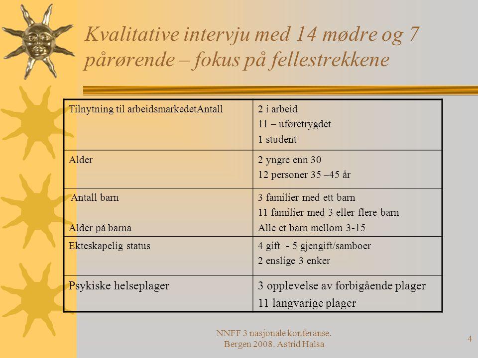 NNFF 3 nasjonale konferanse. Bergen 2008. Astrid Halsa 4 Kvalitative intervju med 14 mødre og 7 pårørende – fokus på fellestrekkene Tilnytning til arb