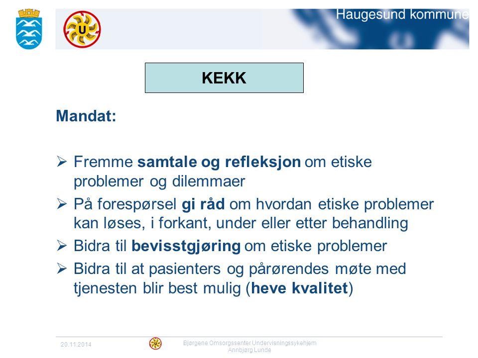 20.11.2014 Bjørgene Omsorgssenter Undervisningssykehjem Annbjørg Lunde KEKK Mandat:  Fremme samtale og refleksjon om etiske problemer og dilemmaer 